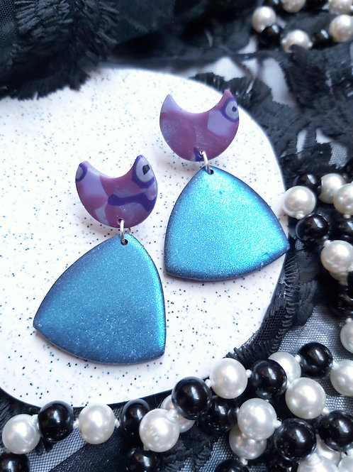 Pick Your Poison Small Rounded Triangle Designer Dangles - Polymer Clay