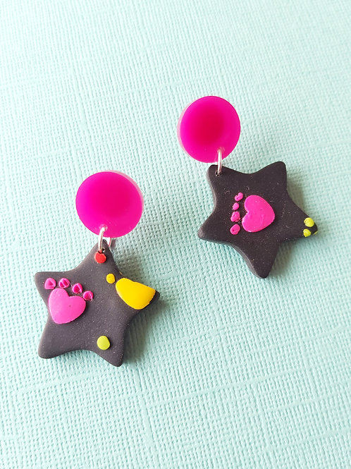 Kitty Whiskers small star Designer Dangles - Polymer Clay