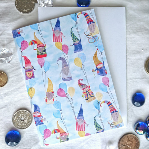 Floating Gnomes Greeting Card