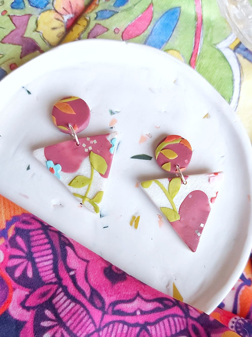 Tehran Small Pearl Delta Designer Dangles - Polymer Clay
