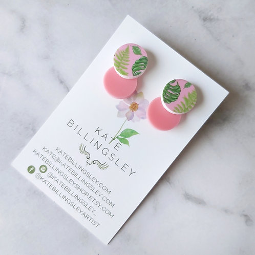 Venn Drop Studs - Pink Monstera Leaf on Pink