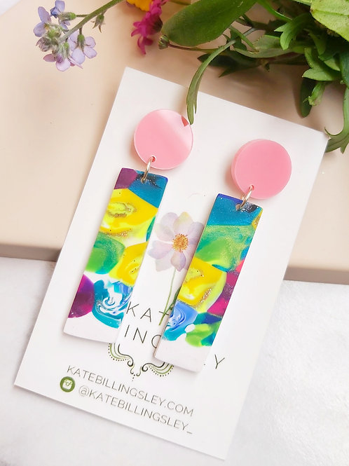 Rainbow Patchwork small Designer Dangles -  Polymer Clay
