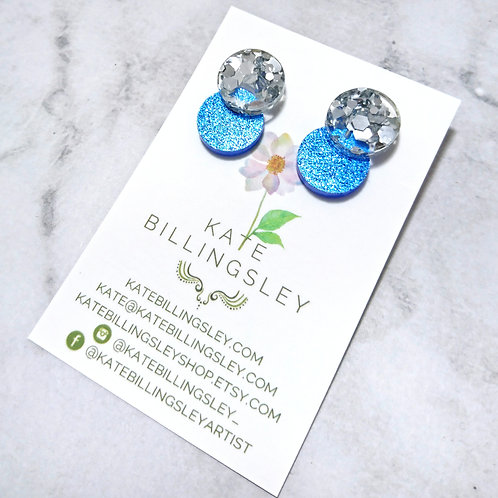 Venn drop studs - Chunky silver hexie on blue glitter
