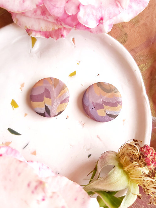 Venetian Paper Shop Fawn Circle Studs - Polymer Clay
