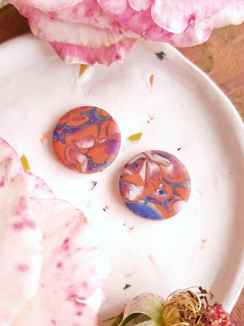 Venetian Paper Shop Blue Circle Studs - Polymer Clay