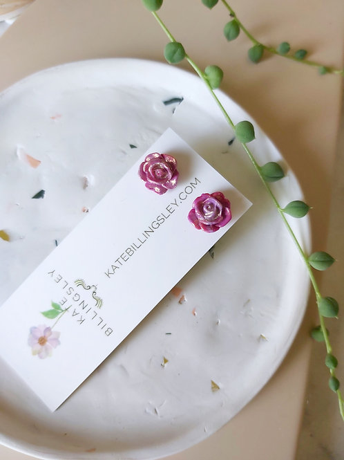Mini Studs - Lilac-Pink Roses dipped in Gold