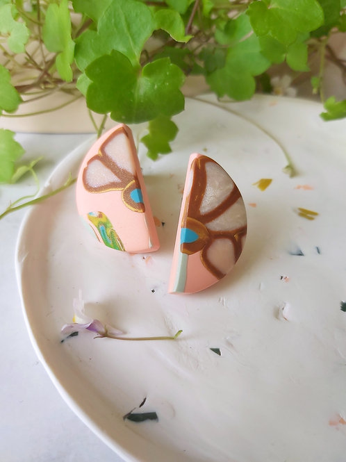 Egyptian Revival semicircle lotus studs - Polymer Clay