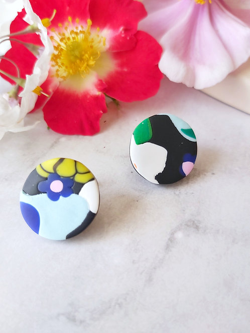 Flower Power Circle Studs - Polymer Clay