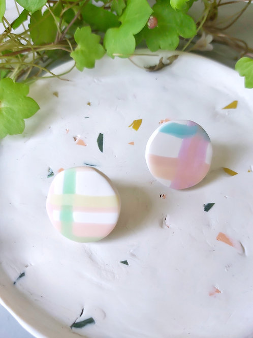 Daydreamer plaid studs - Polymer Clay