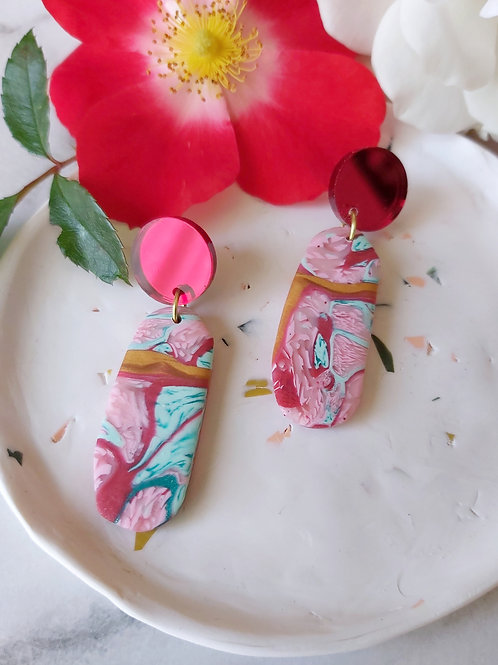 Raspberry Ripple Penelope Designer Dangles - Red Mirror Acrylic - Polymer Clay