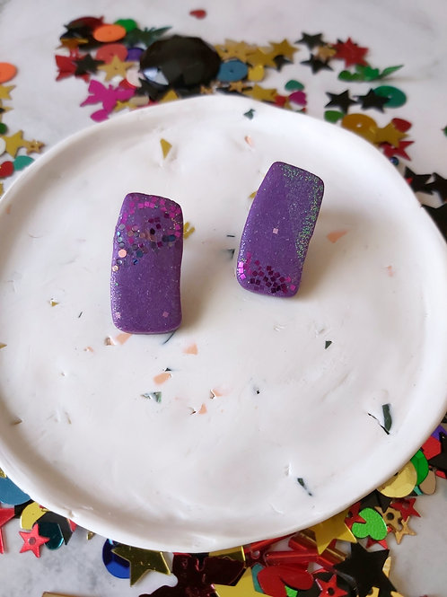 Discotheque imperfect rectangle studs - Polymer Clay