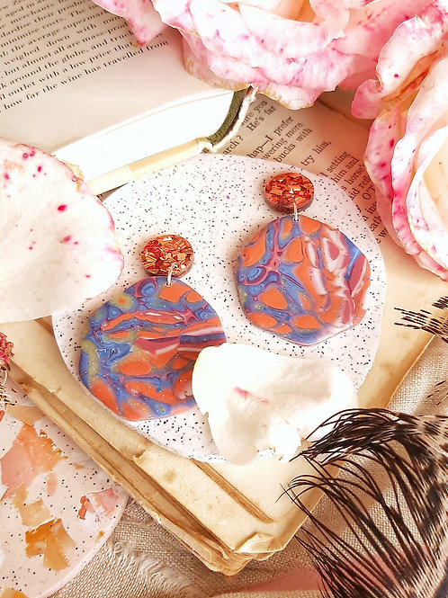 Venetian Paper Shop Blue Mega Gaia Designer Dangles - Polymer Clay