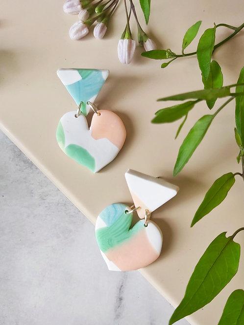 Daydreamer Small Heart Designer Dangles - Polymer Clay