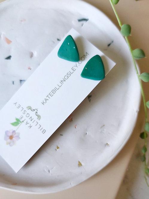Mini Studs - Organic Green Triangles