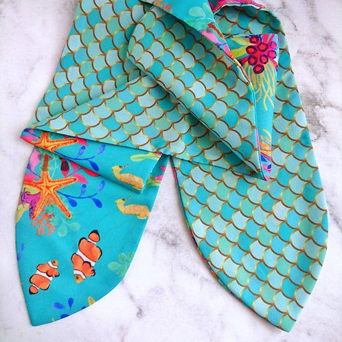 Mermaid/Under the Sea Reversible Headscarf