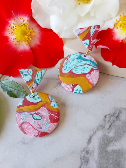 Raspberry Ripple small circle Designer Dangles - Polymer Clay