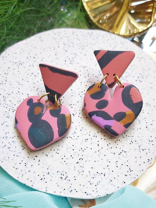 Spirit Animal Small Heart Designer Dangles - Polymer Clay