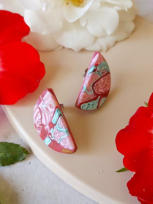 Raspberry Ripple semicircle studs - Polymer Clay