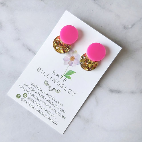 Venn Drop Studs - Hot Pink over Gold Party Mix Glitter