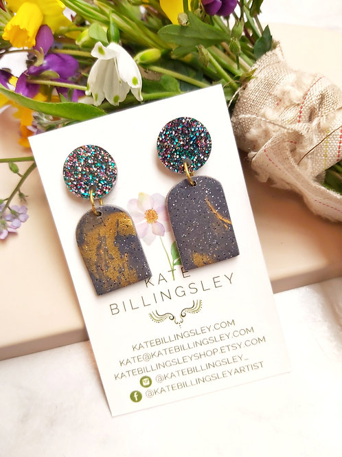 Granite and Gold small Designer Dangles -  Polymer Clay