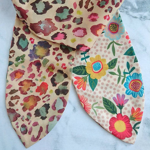 Leopard/Mexican Folk Floral Reversible Headscarf