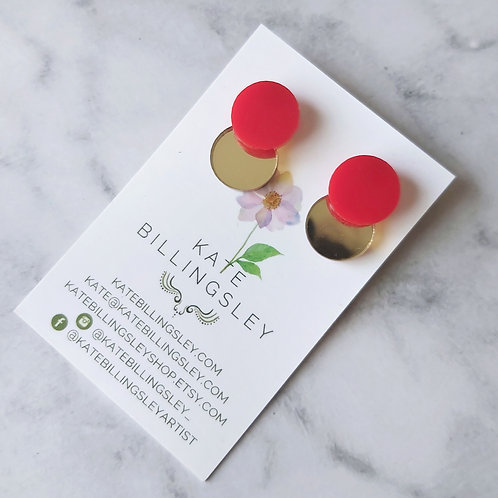 Venn Drop Studs - Red on Gold Mirror