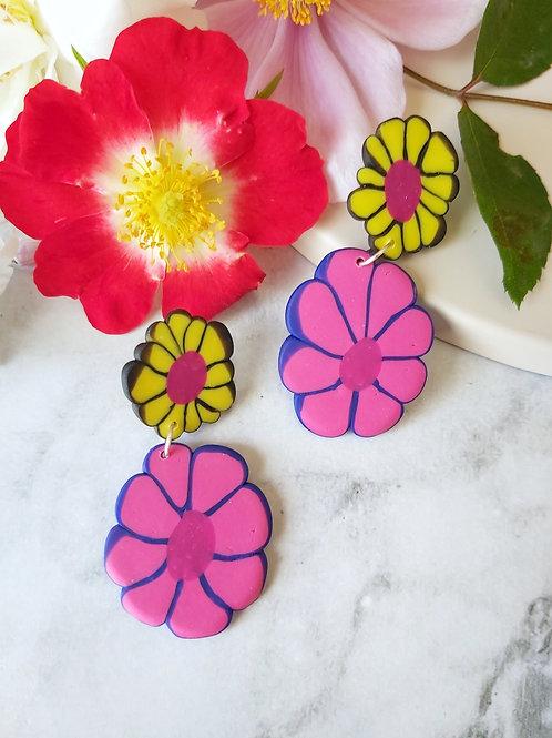 Flower Power Double Daisy Designer Dangles - Polymer Clay
