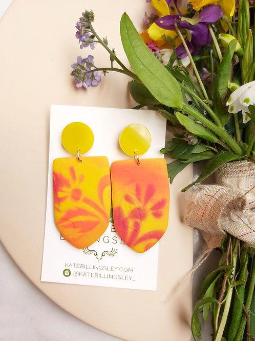 Bright Yellow Mega Kore Designer Dangles - Polymer Clay