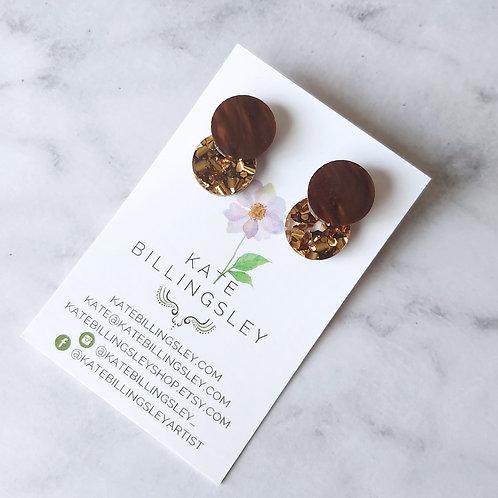 Venn Drop Studs - Pearl Chocolate over Bronze Hexie Glitter