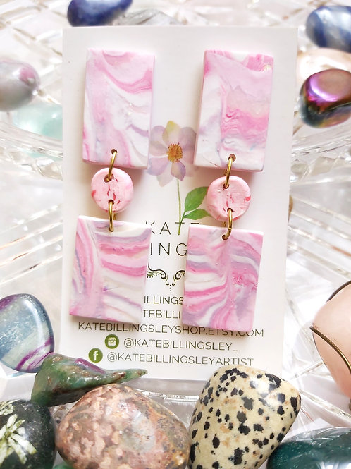 Pink Lilac Geometric Designer Dangles - Polymer Clay