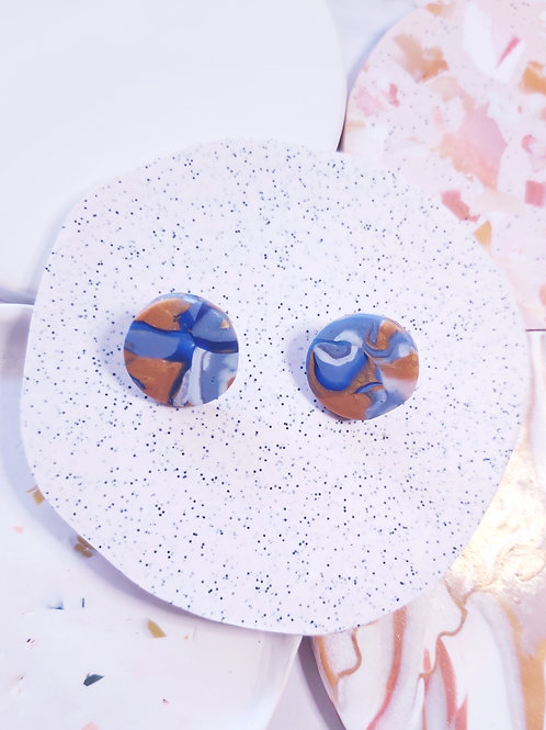 Geode #2 Circle Studs - Polymer Clay