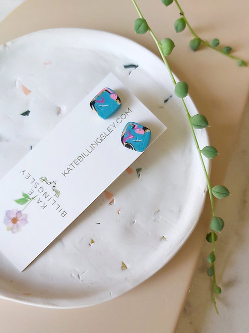 Mini Studs - Organic Turquoise Marble Squares