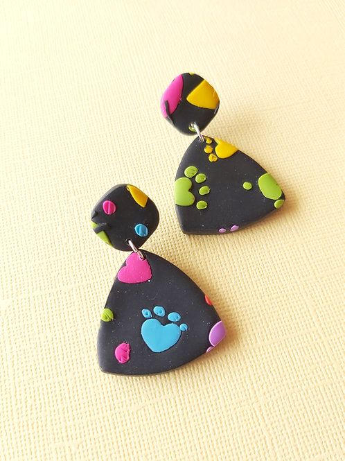 Kitty Whiskers Paw Small Rounded Triangle Designer Dangles - Polymer Cla