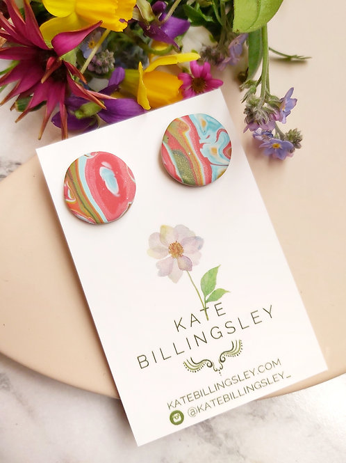 Red Marble Circle Studs - Polymer Clay
