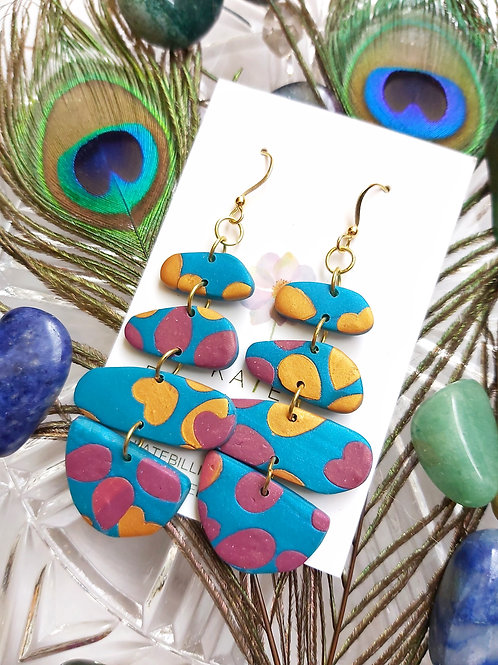 Peacock Blue Shangri-La Mega Designer Dangles - Polymer Clay
