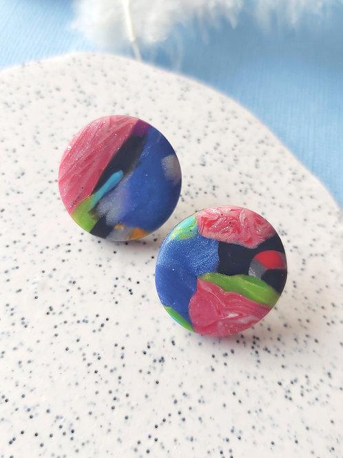 Birdy Bop Circle Studs - Polymer Clay