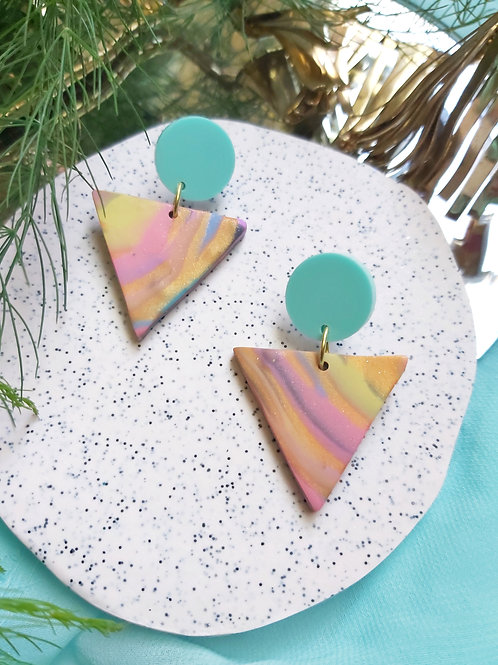 Spirit Animal Small Marble Delta Designer Dangles - Polymer Clay