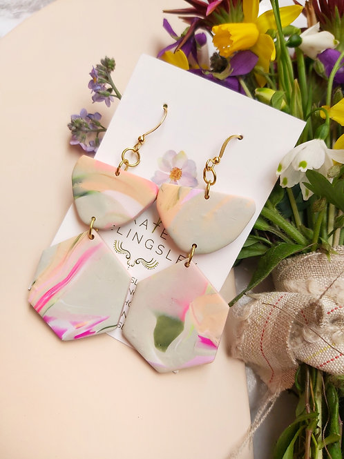 Ecru and Pink Mega Rune Designer Dangles - Polymer Clay