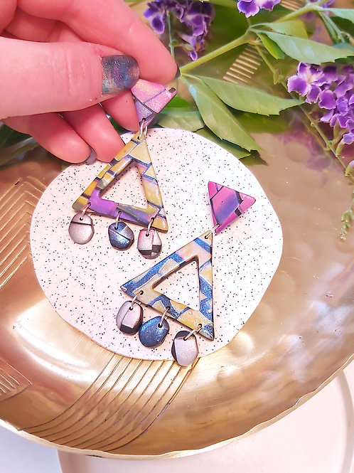 Electric Alligator Mega Triangle Cutout Designer Dangles - Polymer Clay