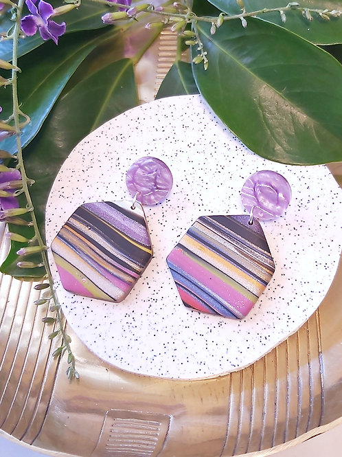 Electric Alligator Stripe Hexagon Designer Dangles -  Polymer Clay