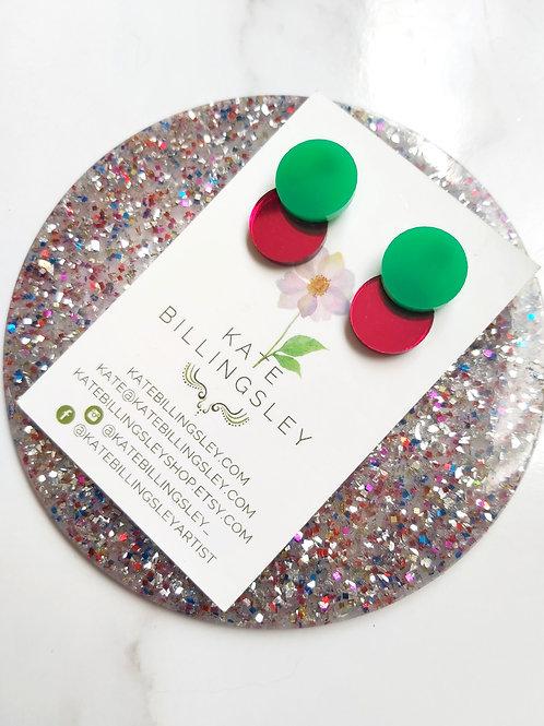 Venn Drop Studs - Green over red mirror