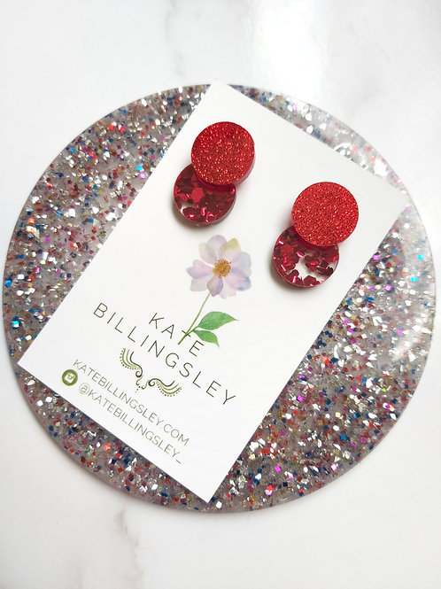 Venn Drop Studs - Red Glitter over Red Hexie Glitter