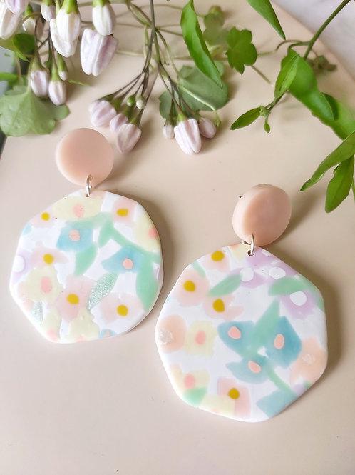 Daydreamer Mega Roundish Floral Designer Dangles - Polymer Clay