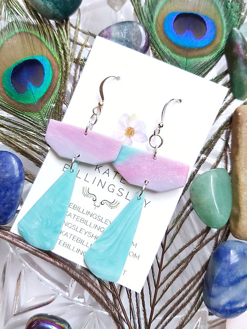 Faux Seaglass Designer Dangles - Polymer Clay