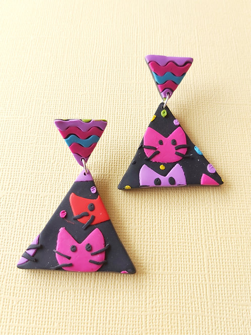 Kitty Whiskers Cats Large Delta Designer Dangles - Polymer Clay