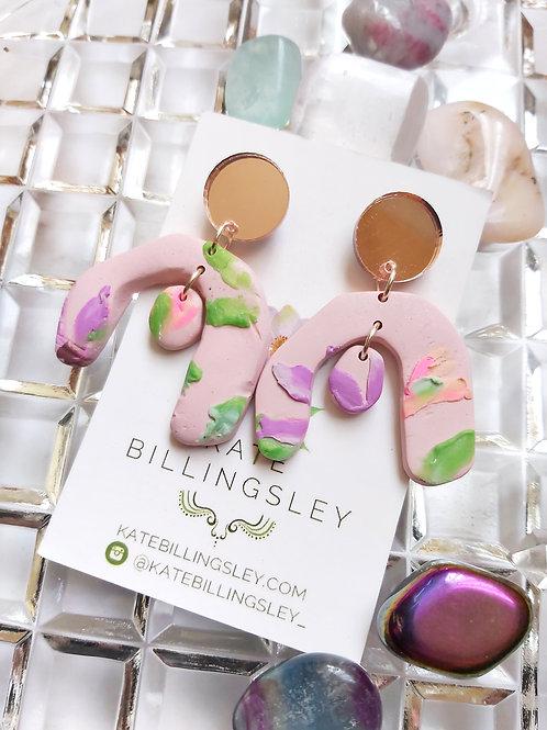 Impasto Pink Aphrodite Designer Dangles - Polymer Clay
