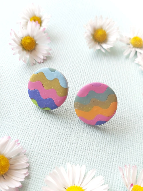 Garden Party Streamers Circle Studs - Polymer Clay