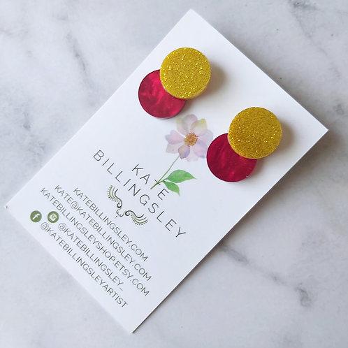 Venn Drop Studs - Yellow Gold Micro Glitter on Red Pearl