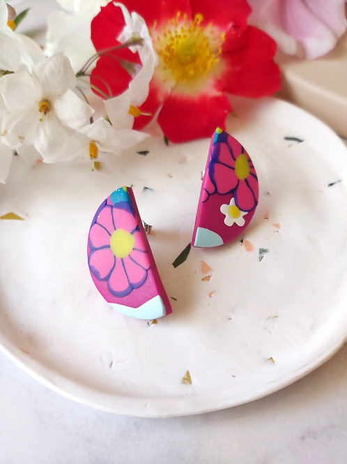 Flower Power Semicircle Studs - Polymer Clay