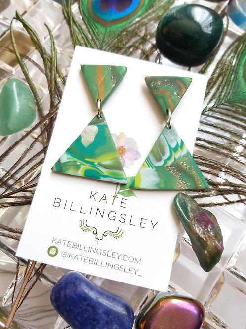 Tropical Terrarium Mini Delta Small Designer Dangles -  Polymer Clay